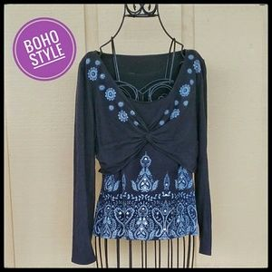 Boho Style Top with Tattoo Detailing